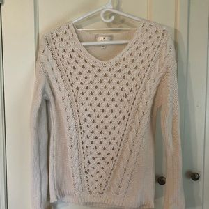 Off white v-neck crochet/knit sweater